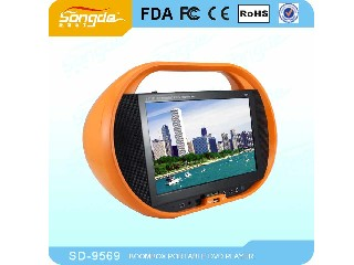 Portable DVD CD boombox with TV FM DVD USB SD Game Battery  SD-9569