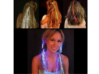 Luminous Light Up LED Hair Extension Flash Braid Party girl Hair Glow by fiber optic For Party Chris