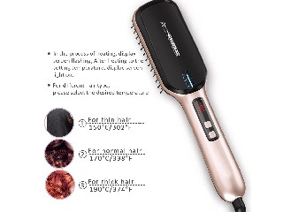 LCD Digital Combs Electric Ceramic Heat ionic Hair Straightening Brush   HSB-100B